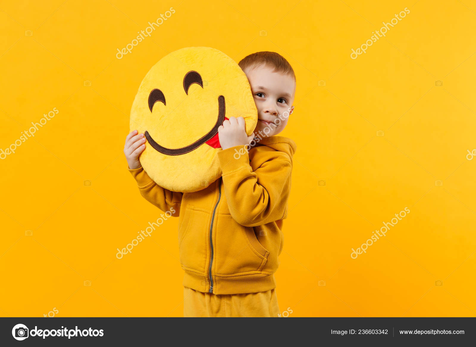 Little Cute Kid Boy Years Old Wearing Yellow Clothes