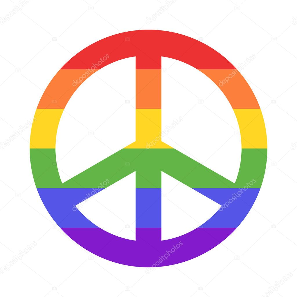 Rainbow peace sign isolated on white background