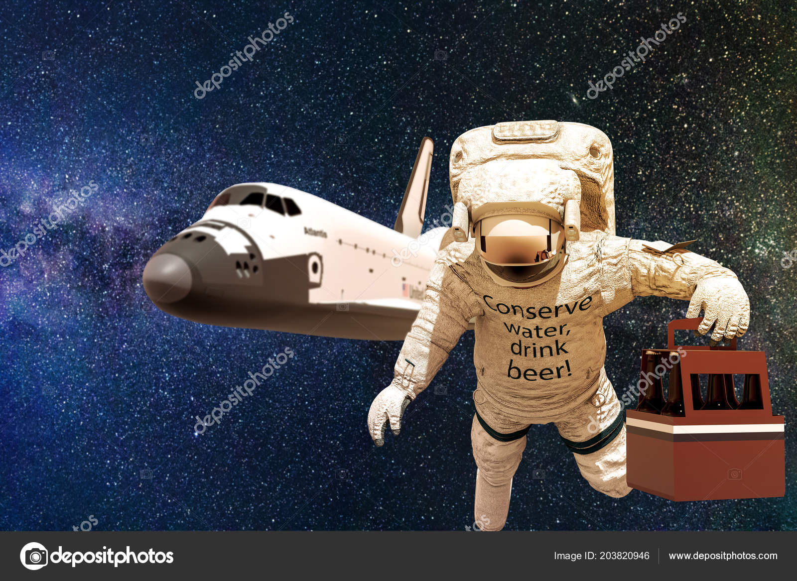 Astronaut Space Some Beers Illustration Stock Photo