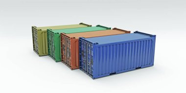 shipping containers isolated on white background