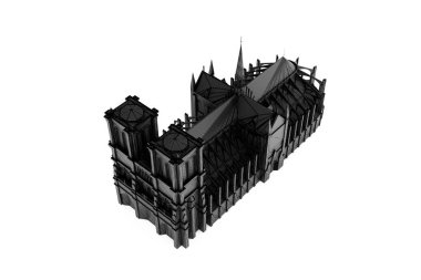 Sketch of Notre Dame Cathedral silhouette