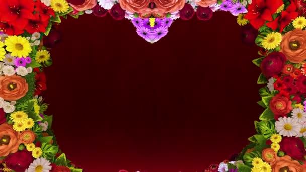 Animace z vířící květy tvoří silueta srdce na červeném pozadí slavnostní. Šablona pro pozdravy pro svatba, Valentýn, den matek, den rodiny, narozeniny.