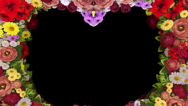 Animace, vířící květin, které tvoří srdce silueta na černém pozadí. Šablona pro pozdravy pro svatbu, Valentýn, matky den, rodinný den, narozeniny.