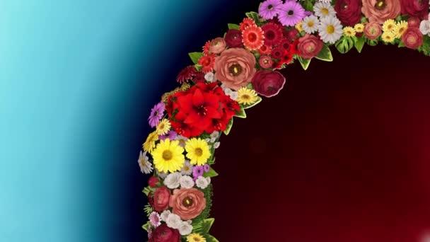 Animace z vířící kroužek květin na světle modré a červené pozadí. Loop video