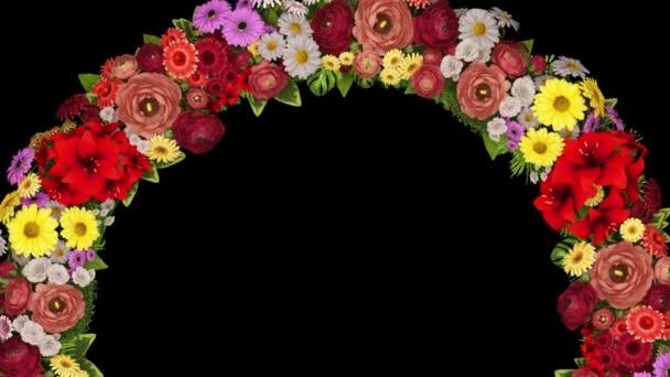 Animáció egy kavargó gyűrű, a virágok, a fekete háttér. Hurok videóinak