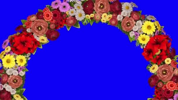 Animaci rotující prstenec květin na modrém pozadí. Chromatický klíč. Loop video