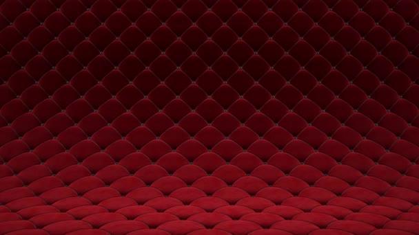 3D motion animáció, piros steppelt bársony felületű, fekete bőr pántokkal. Reális animáció magas színvonalú. Végtelenített videó.