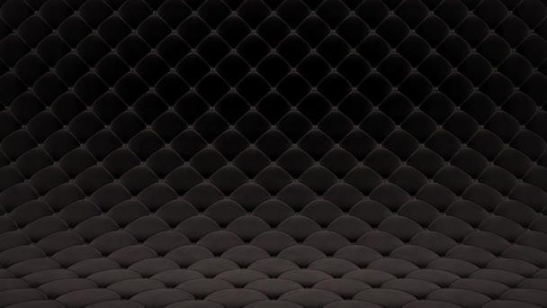 3D pohybová animace z černě prošíněného sametového povrchu s černými koženými popruhy. Realistická animace vysoké kvality. Opakování videa.