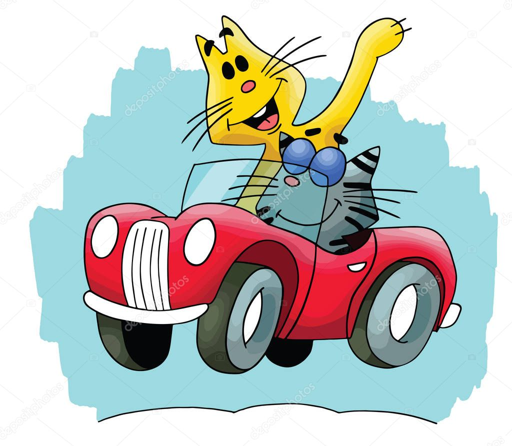 Cartoon Cats Travelling By A Red Convertible Car Vector Illustration Premium Vector In Adobe Illustrator Ai Ai Format Encapsulated Postscript Eps Eps Format
