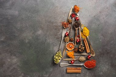 Various spices in spoons in the shape of a Christmas tree on a dark rustic background. Top view, flat lay, copy space.