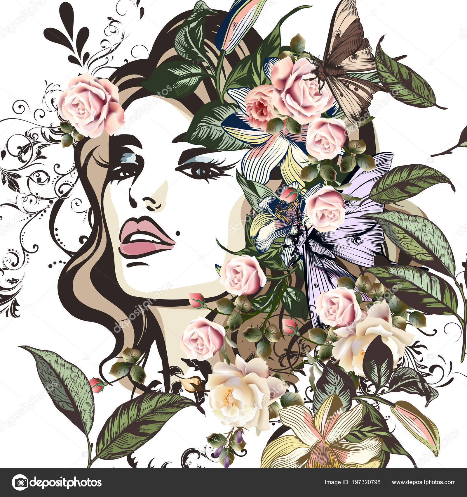 Illustration Beautiful Woman Portrait Fashion Fashion