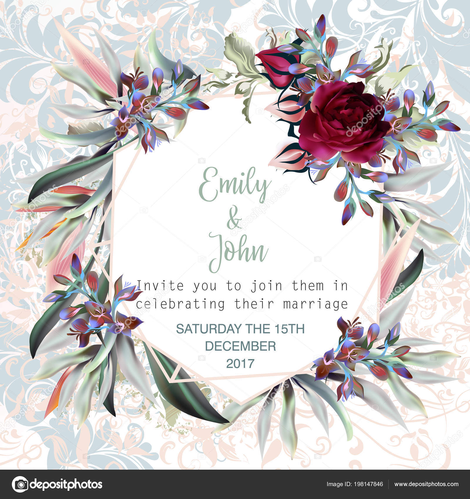 Beautiful Wedding Invitation Card Date Roses Swirls Leafs Tropical ...