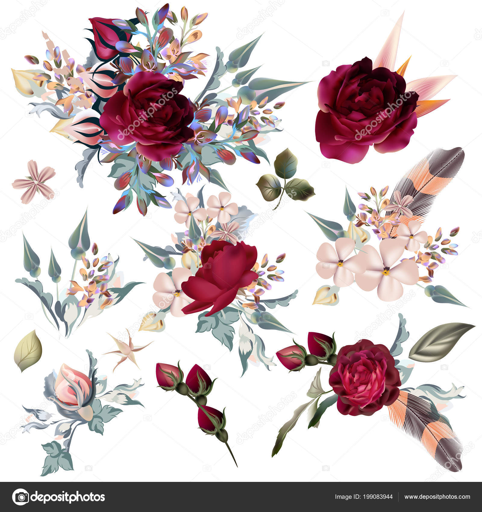 Collection Vector Hand Drawn Flowers Design Stock Vector