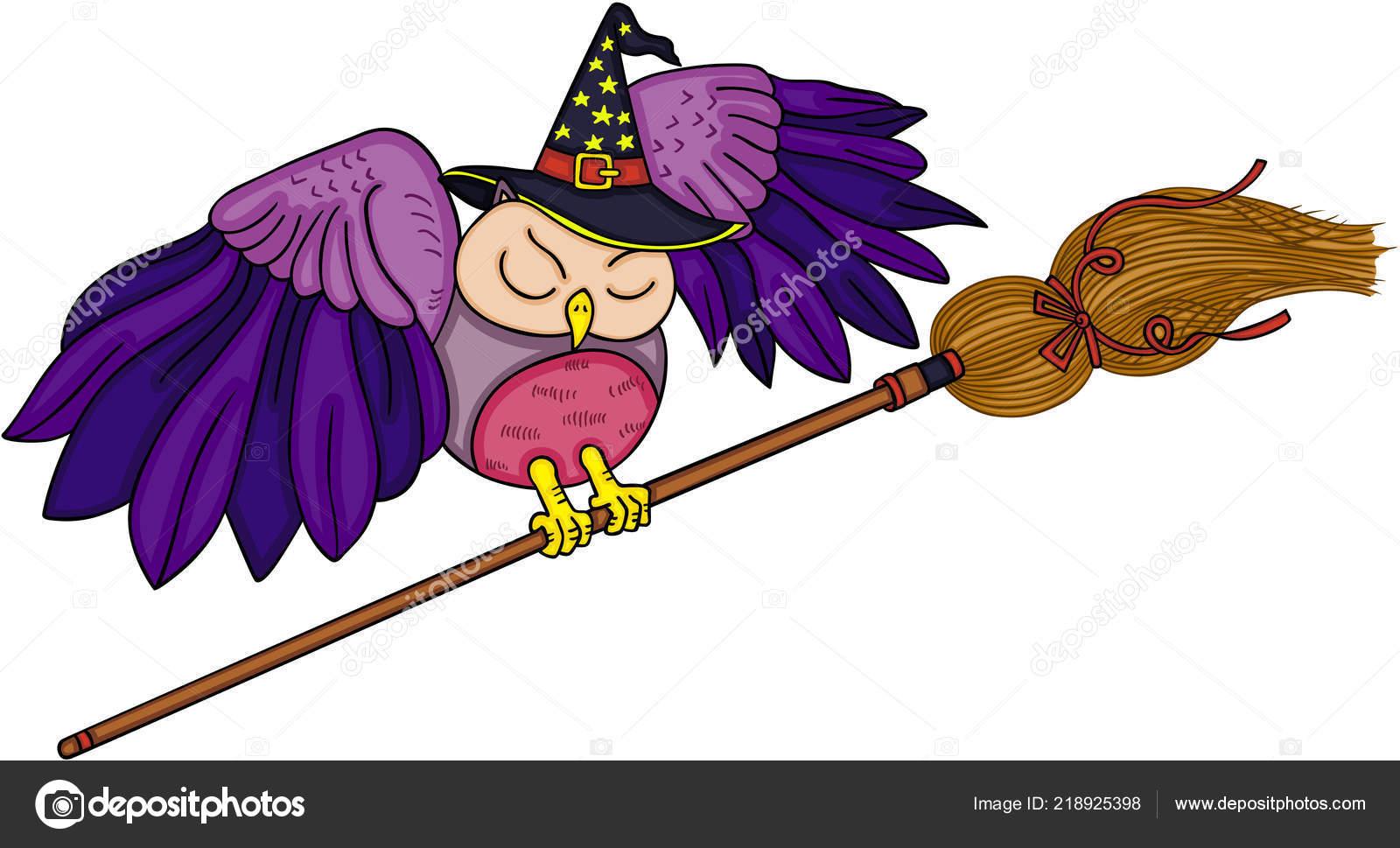 Halloween Eule Mit Hexe Besen Stockvektor Socris79 218925398