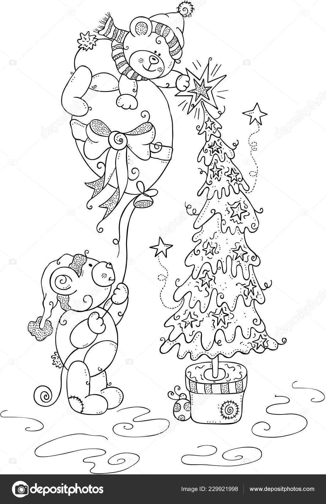 Kids Coloring Page Christmas Teddy Bears Stock Vector C Socris79
