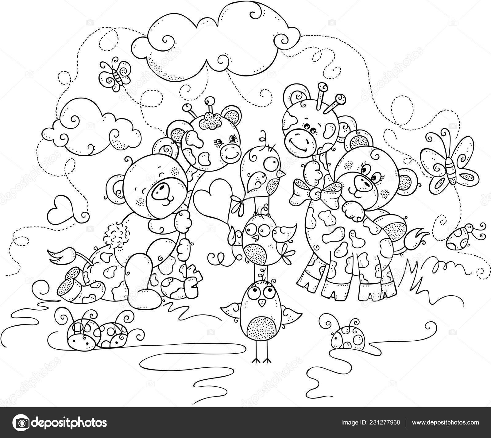 Kids Coloring Page Cute Teddy Bears Giraffes Stock Vector C Socris79 231277968