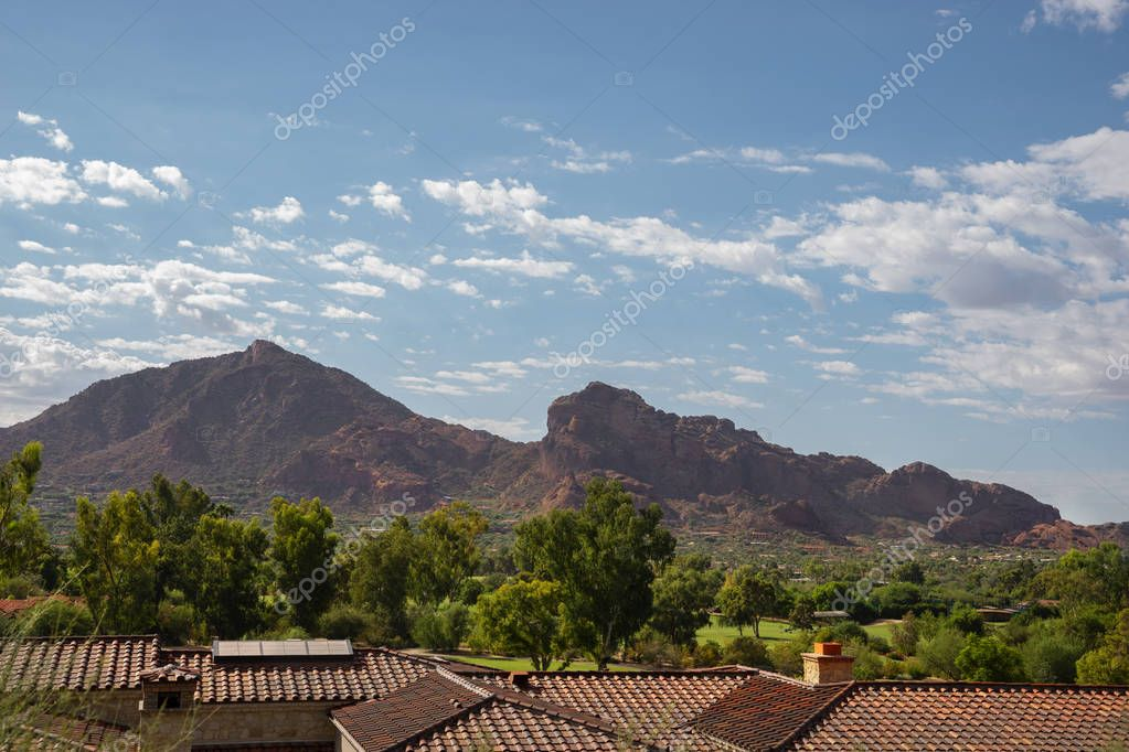 Scenic desert landscape in Scottsdale, Phoenix,Arizona, Camelback Mountain features the shape of a camel and is a popular hike for locals and tourists.