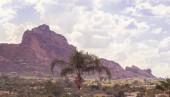 Festői sivatagi táj Scottsdale, Phoenix, Arizona, Camelback Mountain jellegét meghatározza egy teve alakú, és egy népszerű túra a helyiek és a turisták