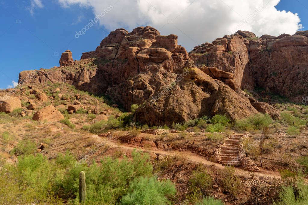 Camelback Mountain Echo Canyon recreation area trail in Phoenix, Arizona.
