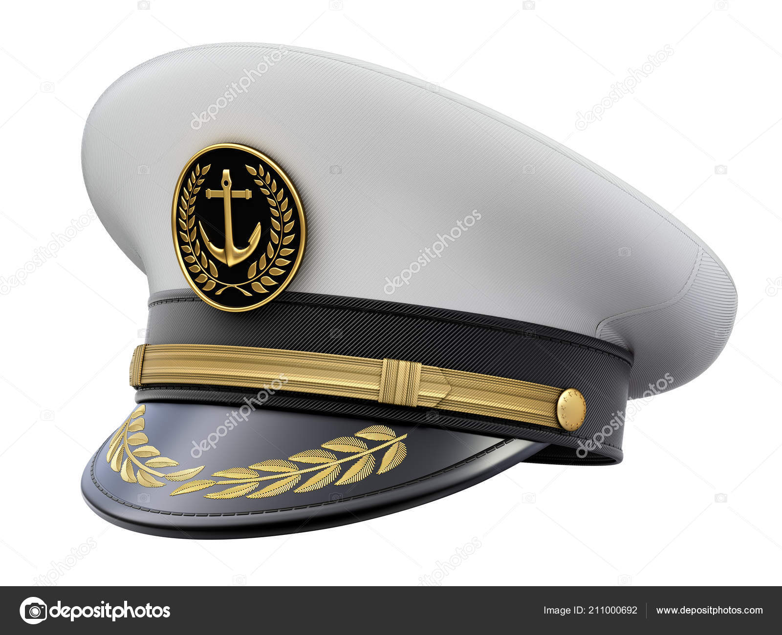 0b0c502ddbc Navy Captain Hat Isolated White Background Illustration — Stock Photo