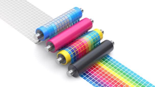 CMYK proces tisku koncept s sada tiskové válce a barev grafu - 3d animace bez problémů loopable