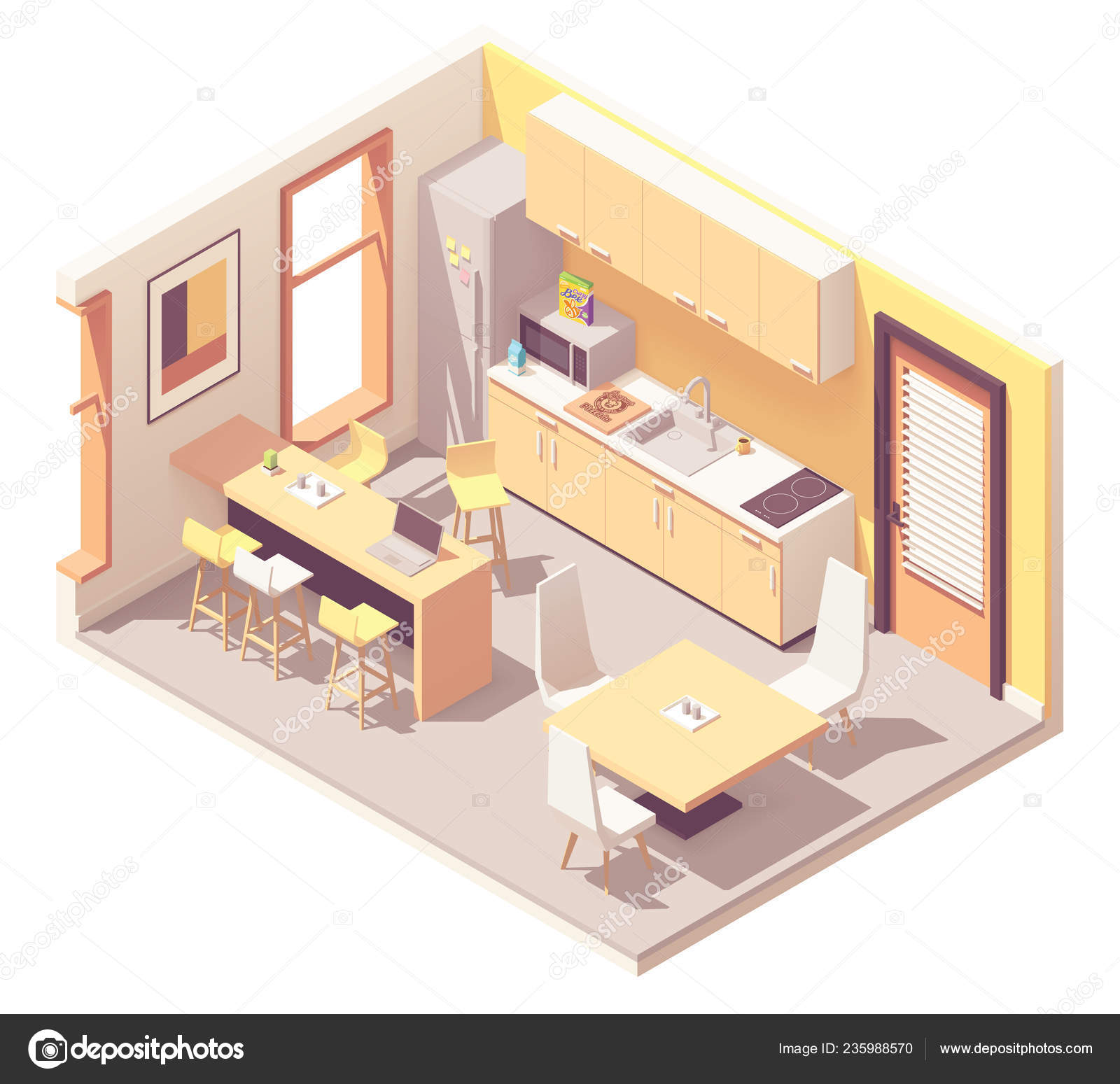 Pleasing Vector Isometric Office Break Room Stock Vector C Tele52 Interior Design Ideas Gentotryabchikinfo