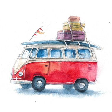 Watercolor illustration with a hippie bus, Volkswagen Type 2, travel and adventure in different cities and countries