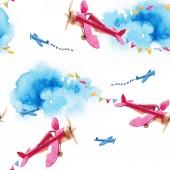 Fotografia Reticolo senza giunte dellacquerello con aerei depoca di bambini, parata militare, aria Visualizza