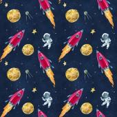 Nahtlose Muster mit Aquarell Abbildungen von Raum, Raketen, Planeten und Astronauten