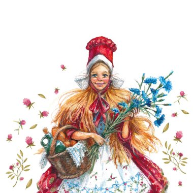 Watercolor illustration Little Red Riding Hood, girls in national costume with basket and flowers on white background