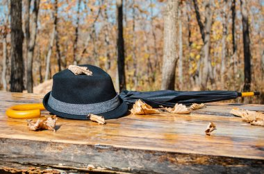 Men's hat and umbrella lie on a wooden table surrounded by fallen leaves. Autumn forest on the background. Fall season. Autumn time. Sunny day.
