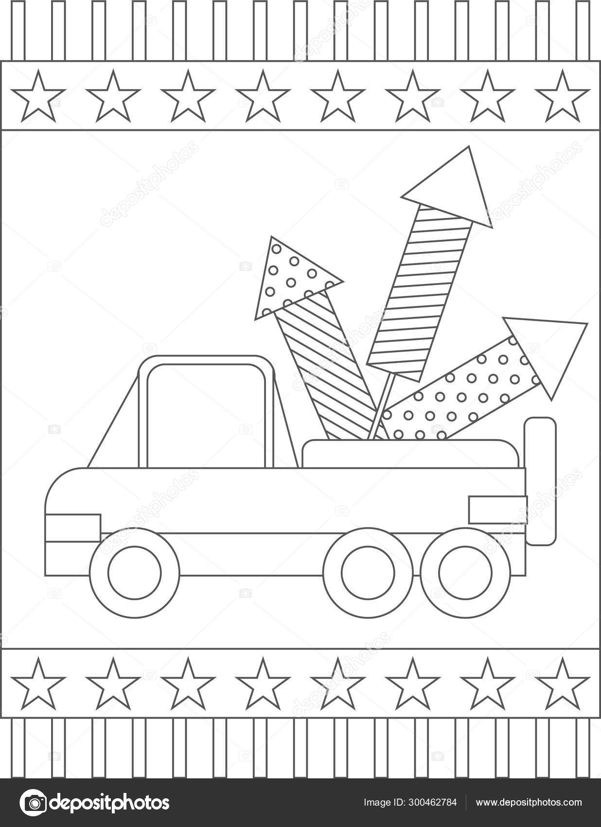 American Patriotic Page Coloring Book Truck Carrying ...