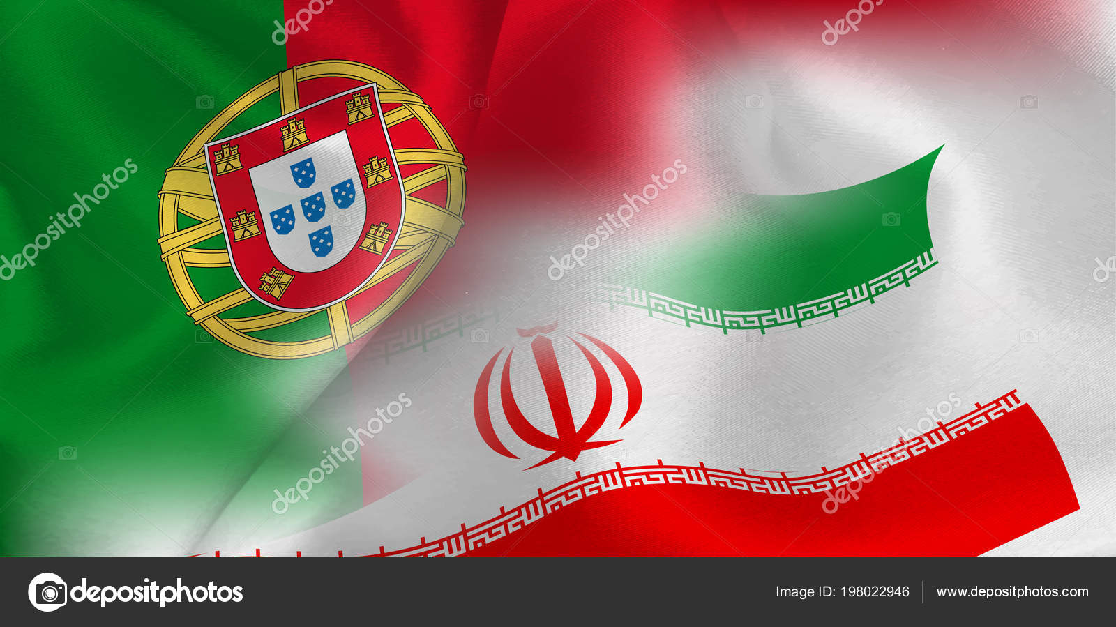 Portugal Iran National Flag Soccer Ball Stock Vector Jboy24