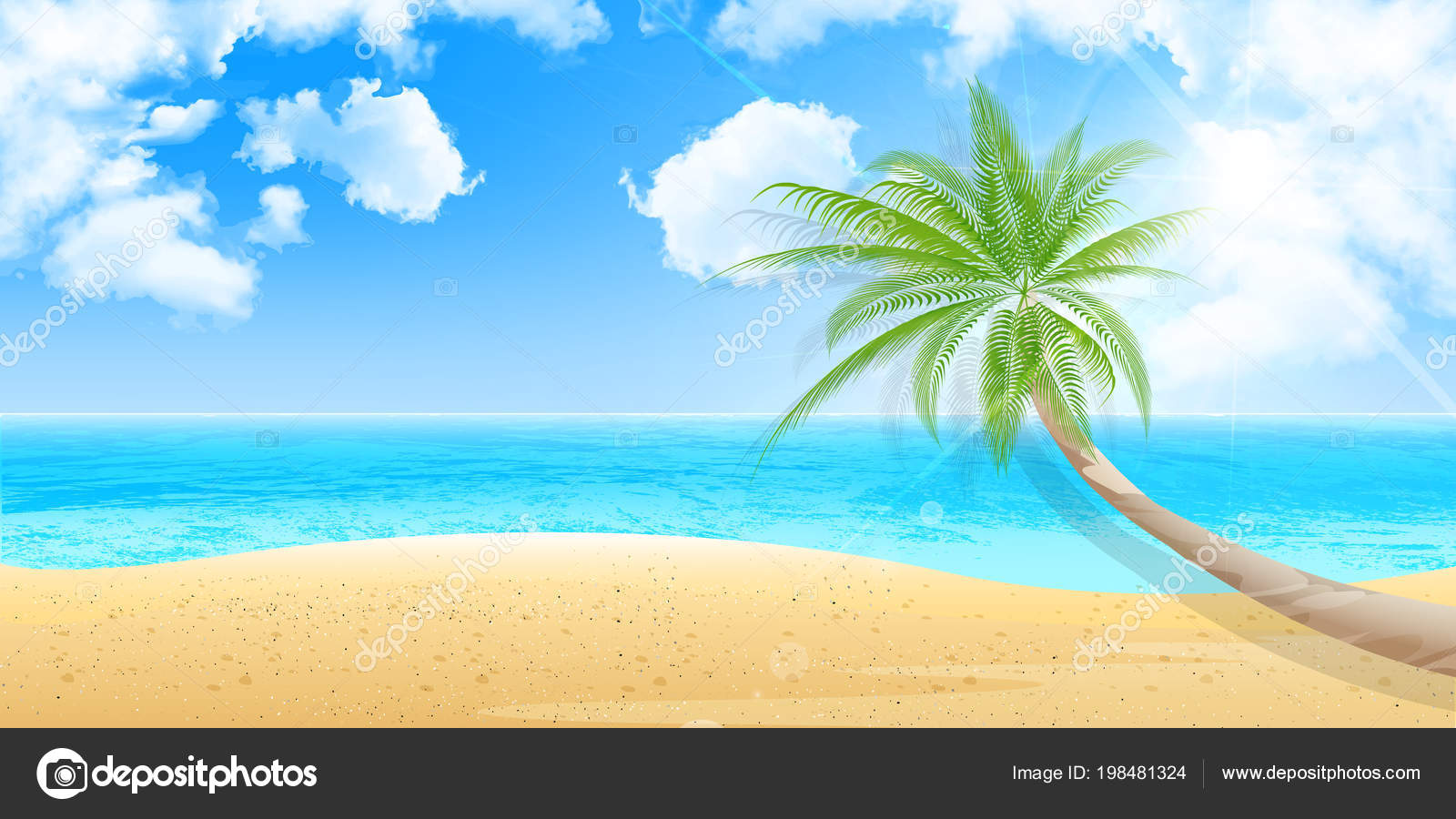 palm summer scenery background — stock vector © jboy24 #198481324