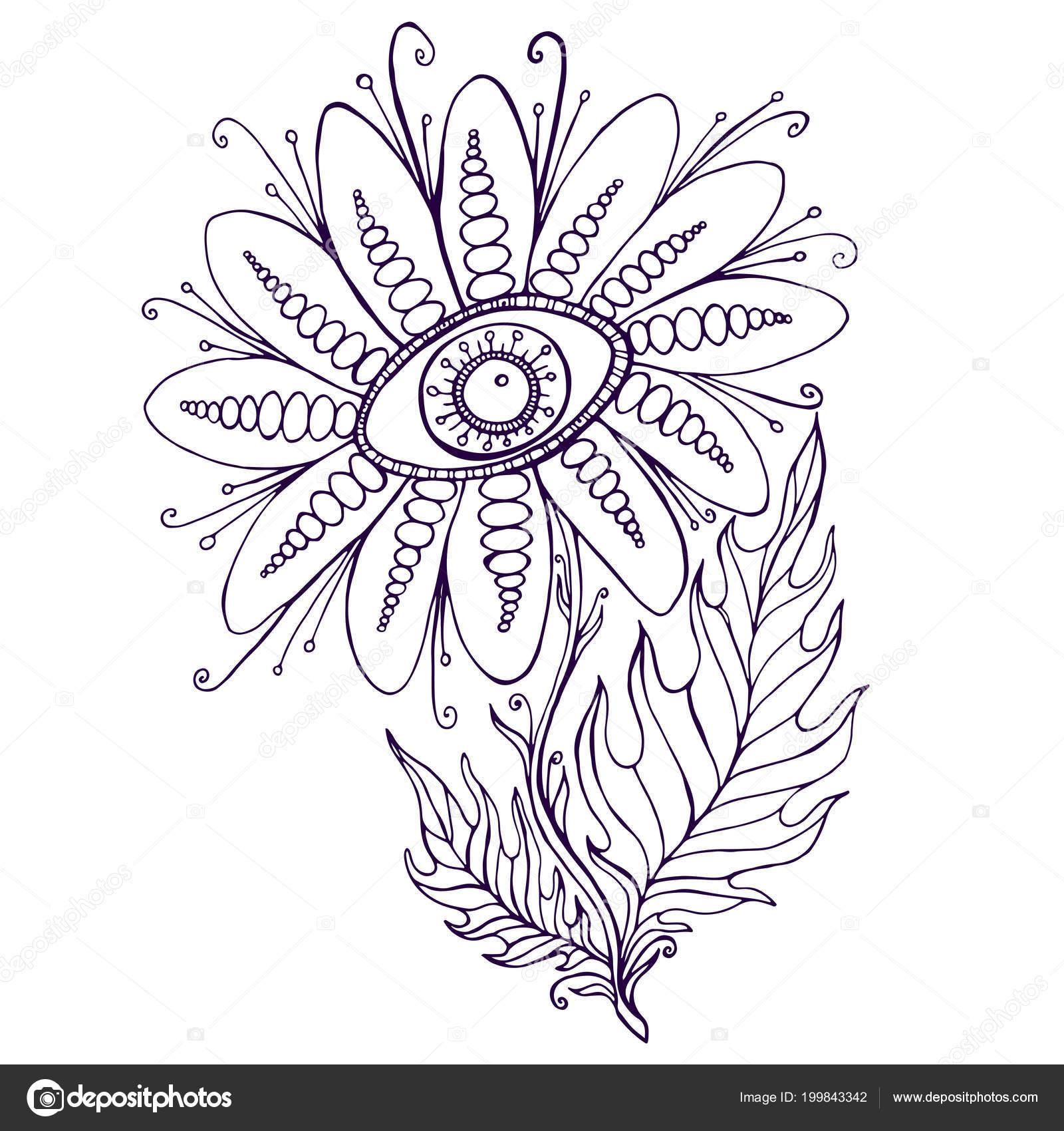 Flores ornamentales de fantasía a la vista Página para colorear ...