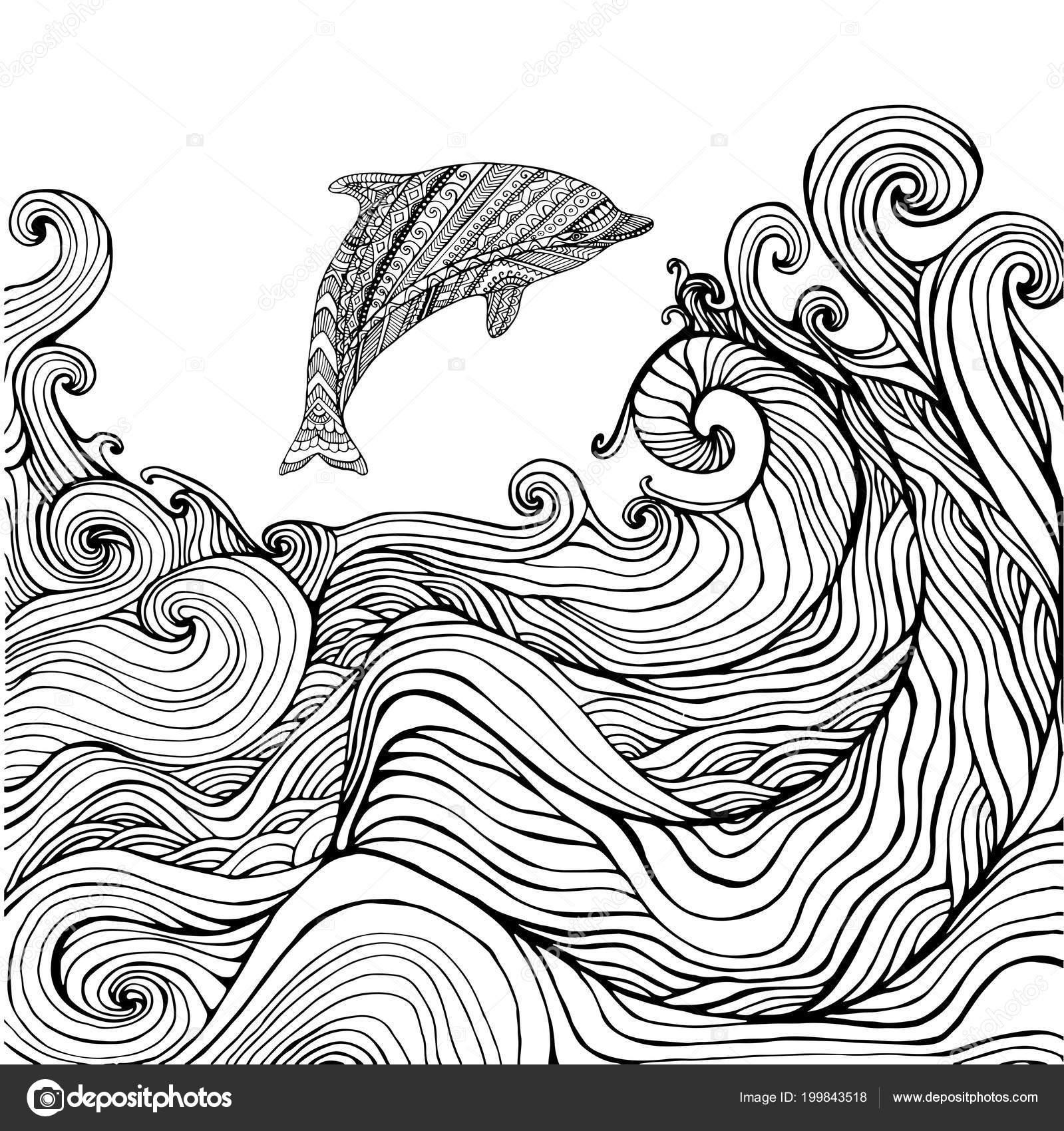 Kleurplaten Zonsondergang.Dolfijn En De Oceaan Golven Kleurplaat Pagina Voor Kinderen En