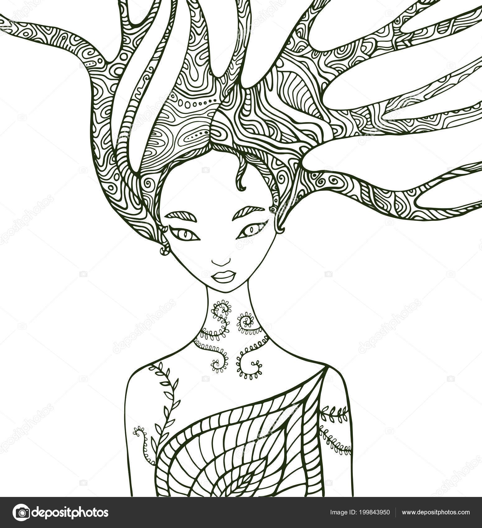 Fantezi Orman Kadın Boyama Sayfası Stok Vektör