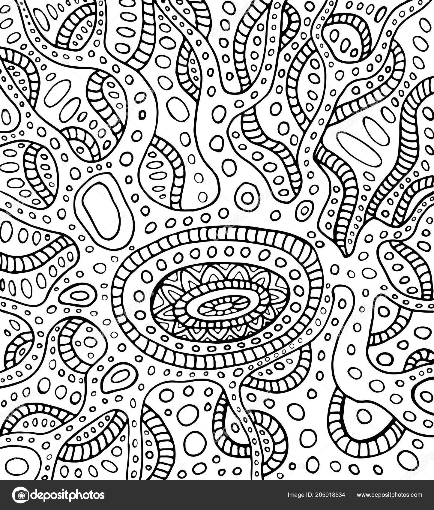 Coloring Page Abstract Pattern Maze Ornaments Psychedelic Stylish Card Vector Stock