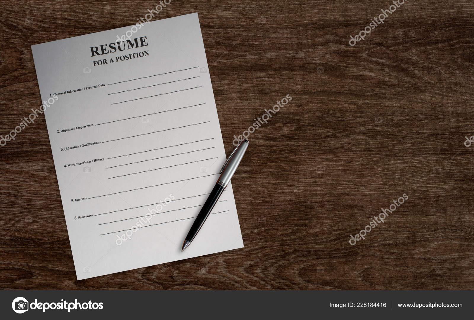 Empty Paper Blank Resume Ballpoint Pen Wooden Table Background Job
