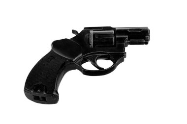 Big black revolver, sideways to camera, on white background; isolated stock vector