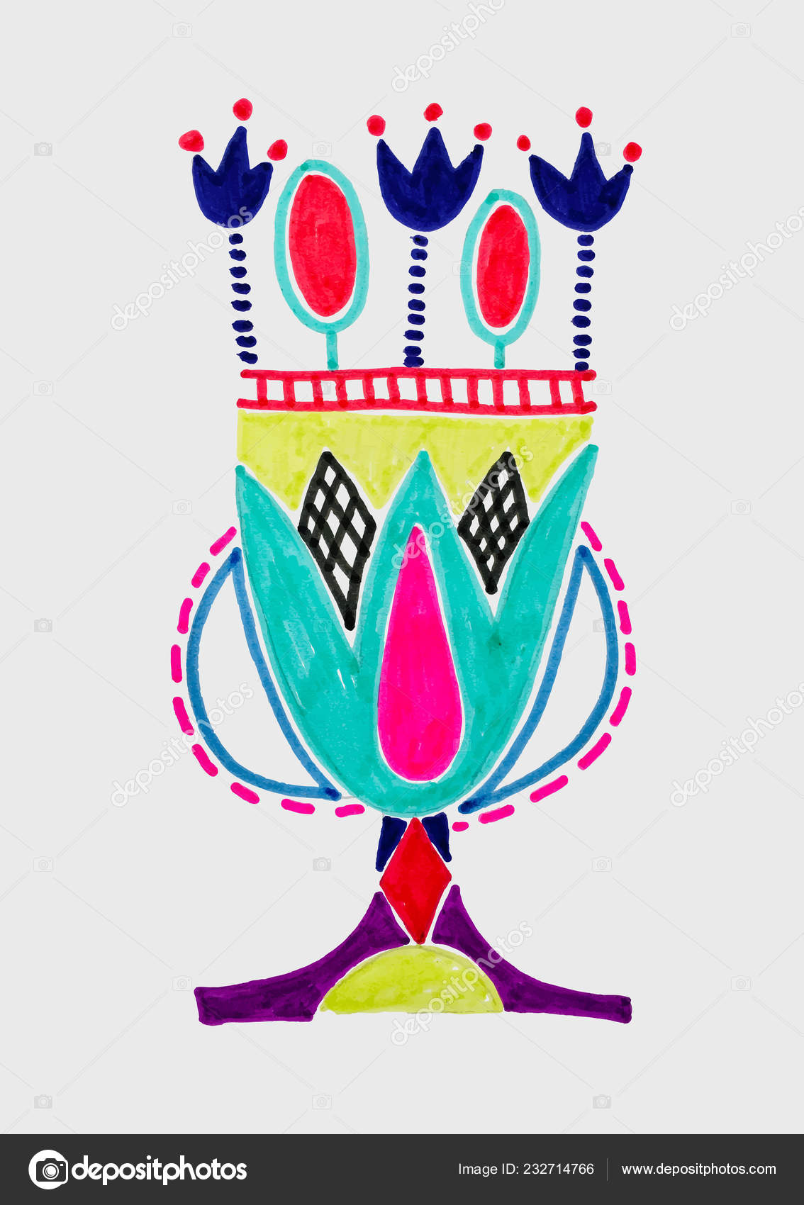 Marker Sketch Drawing Of Egyptian Decoration Lotus Flower Stock