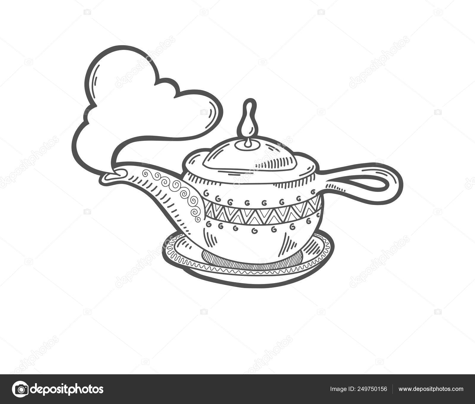 Icône De Dessin De Croquis De La Lampe Magique D Aladin