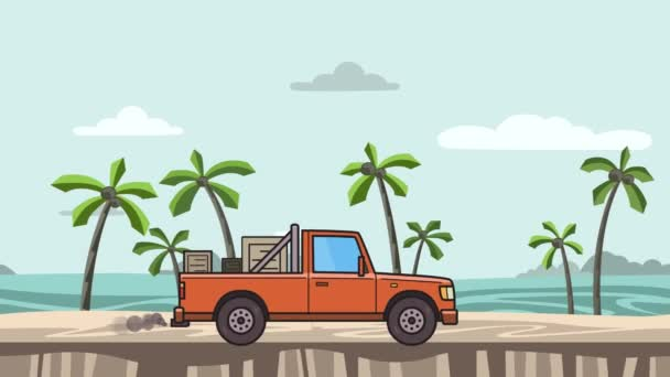 Animovaný červený Pickup s lóžemi v kufru na koni na pláži. Doručení auta dál krajina, boční pohled. Plochý animace