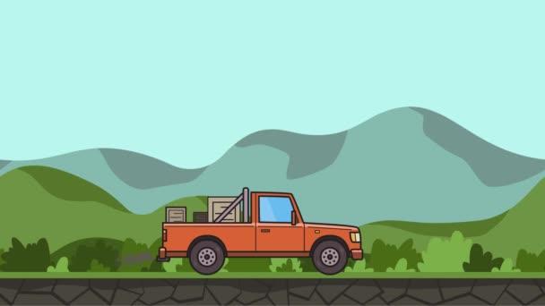 Animovaný pick-up s lóžemi v kufru projížděl zelené údolí. Doručení auta dál kopcovitou krajinu pozadí. Plochý animace