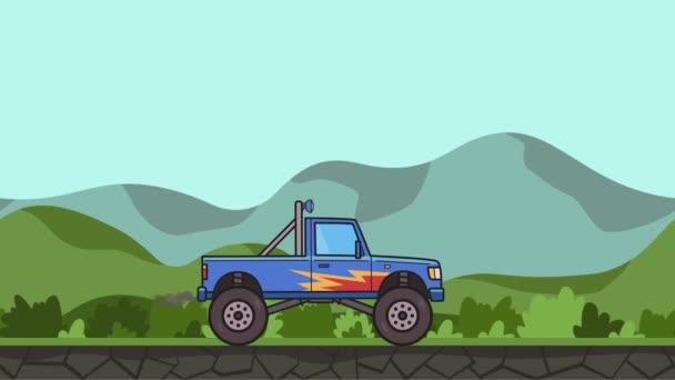 Animovaný veliké kolo monster truck projížděl zelené údolí. Bigfoot auto dál krajina pozadí. Plochý animace