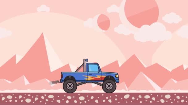 Animovaný veliké kolo monster truck projížděl cizí planetě pouště. Jedoucí náklaďák bigfoot na růžové hoře pouštní pozadí. Plochý animace