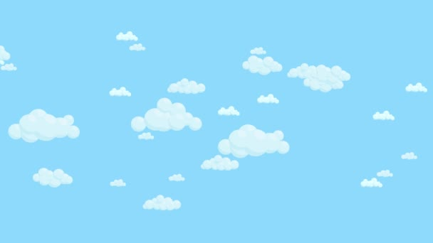 Blue sky full of clouds moving left to right. Cartoon sky background. Flat animation.