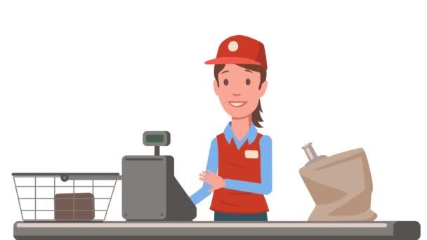 Pokladní paní u přepážky pokladny supermarketu. Prodavačka obchodu s potravinami. Plochý animace. Izolované na bílém pozadí.