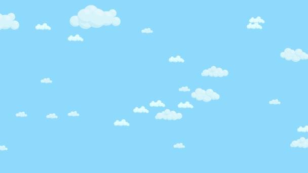 Cielo Azul Lleno De Nubes Moviéndose De Derecha A Izquierda Dibujos