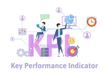 KPI, key performance indicators. Concept table with keywords, letters and icons. Colored flat vector illustration on white background.
